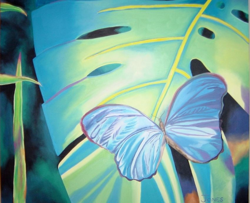 Blue Morpho Erfly Paintings Realism Botanical Fl Landscape Nature