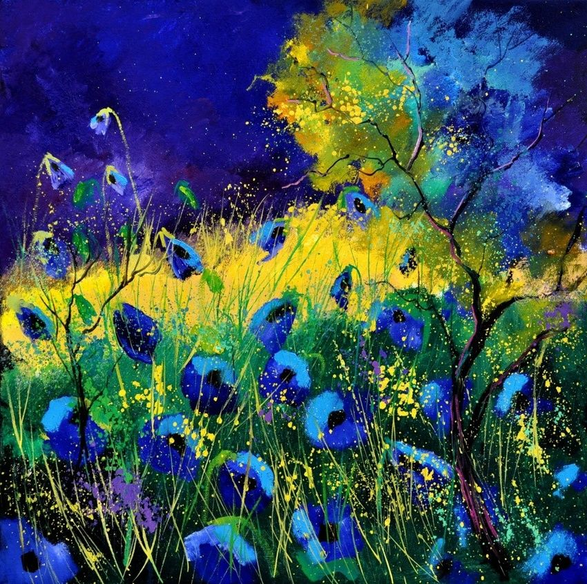 Blue poppies 666, Paintings, Impressionism, Floral, Landscape, Canvas, By Pol Henry Ledent