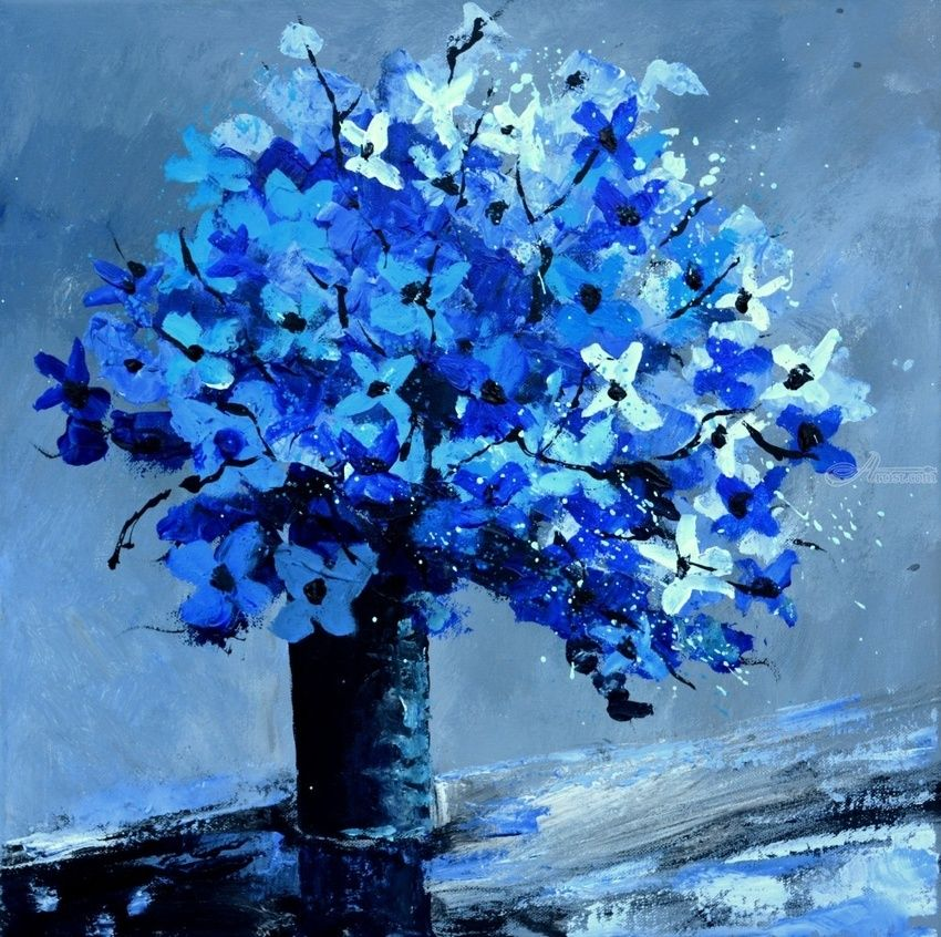 Blue still life, Paintings, Impressionism, Decorative, Canvas, By Pol Henry Ledent
