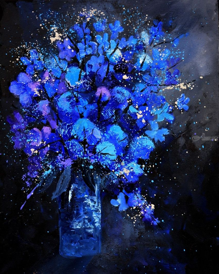 blue still life, Paintings, Expressionism, Botanical, Canvas, By Pol Henry Ledent