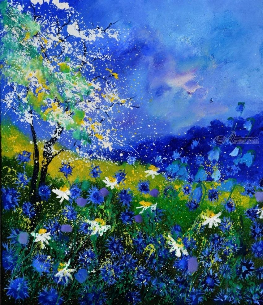 Blue wild flowers, Paintings, Expressionism, Nature, Canvas, By Pol Henry Ledent