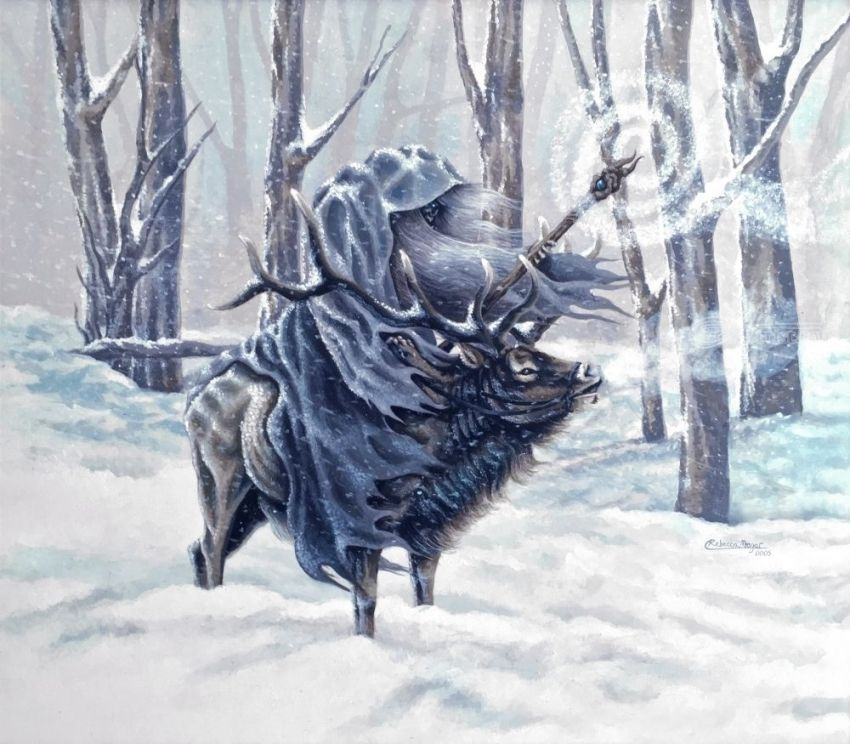 Blue Wizard, Illustration, Paintings, Fine Art, Realism, Animals, Fantasy, Mythical, Nature, Acrylic, By Rebecca Suzanne Magar