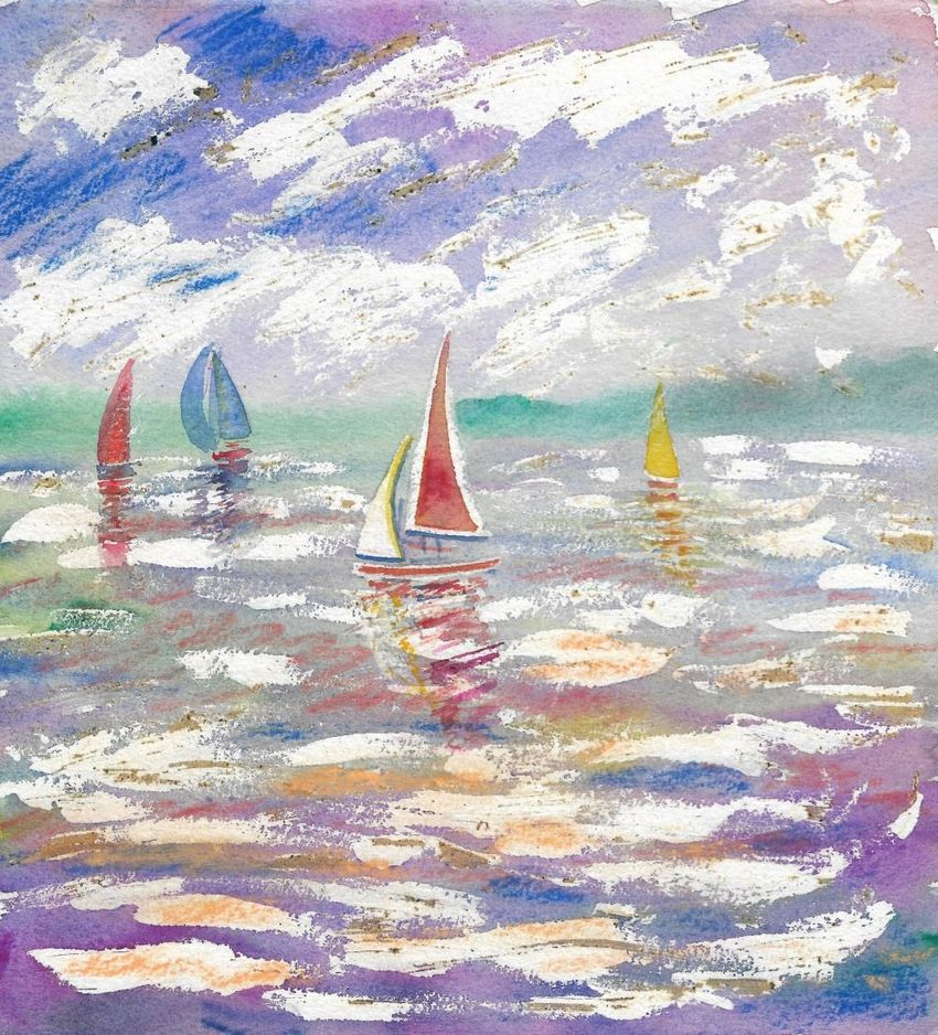 Boating, Paintings, Fine Art, Seascape, Painting, Watercolor, By Matthew David Evans