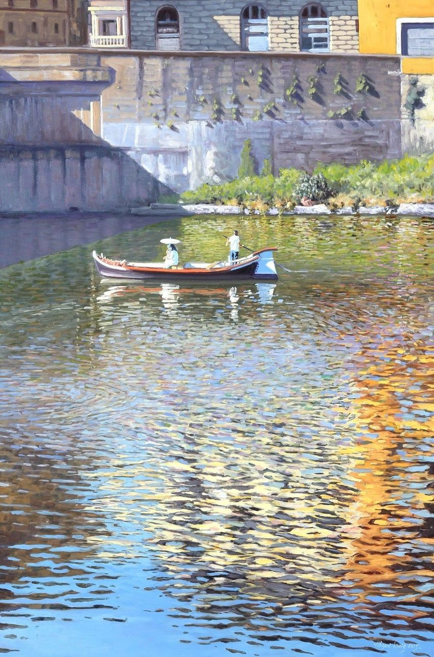 Boating on the Arno, Paintings, Impressionism, Landscape, People, Seascape, Canvas, Oil, By Mason Mansung Kang