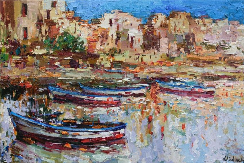 Boats in the harbor of Sicily - Italy Landscape painting, Paintings, Impressionism, Seascape, Canvas, By Anastasiya Valiulina