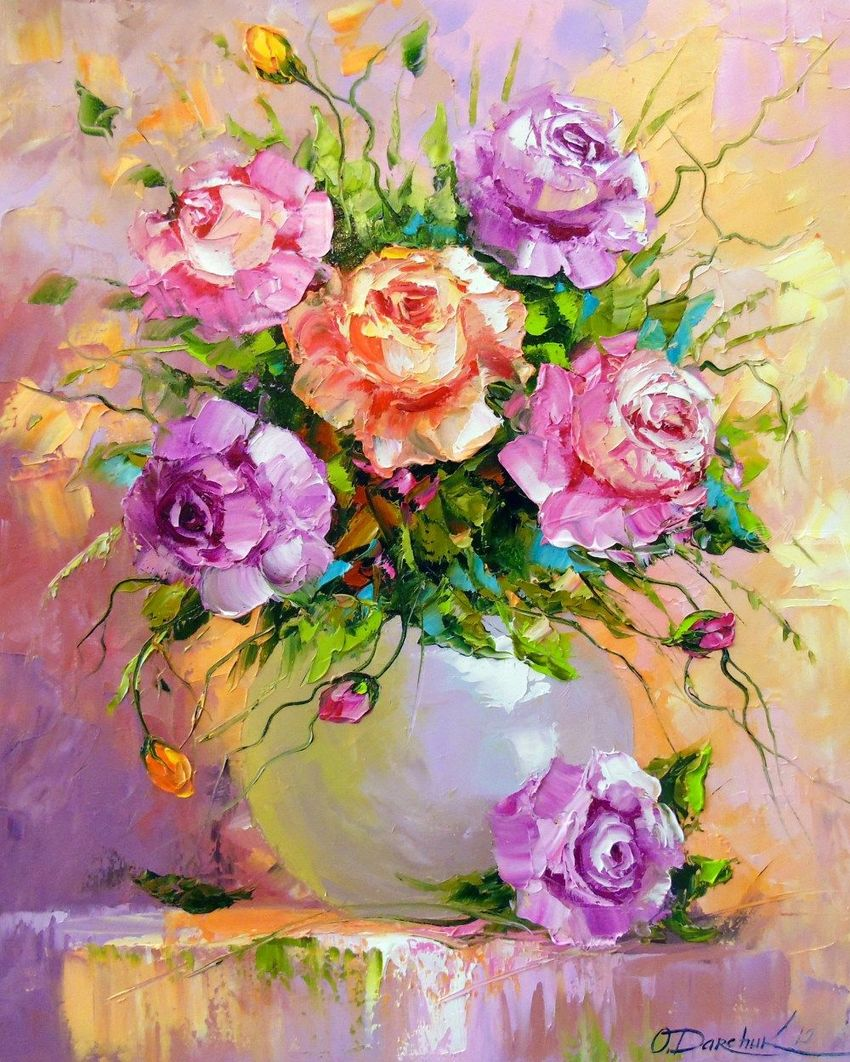 Bouquet of roses, Paintings, Fine Art, Impressionism, Botanical, Floral, Nature, Canvas, Oil, Painting, By Olha   Vyacheslavovna Darchuk