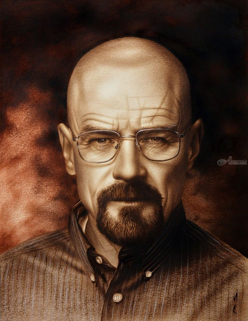 Breaking Bad (Heisenberg (Walter White)) speed drawing Portrait, Drawings / Sketch, Paintings, Expressionism, Fine Art, Photorealism, Realism, People, Portrait, Canvas, Charcoal, Mixed, Oil, By Stefan Pabst