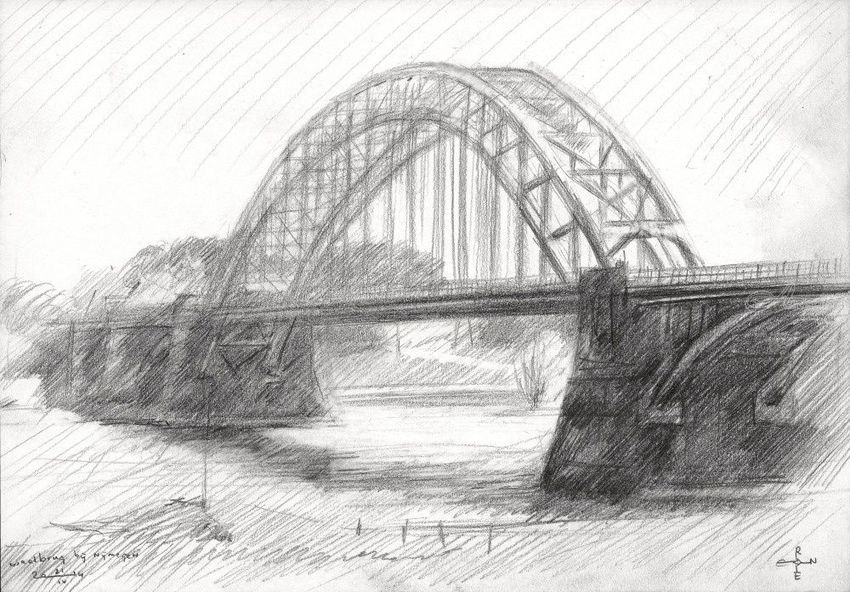 Bridge over the river Waal at Nijmegen - 21-04-14, Drawings / Sketch, Fine Art,Impressionism,Realism, Cityscape,Composition,Figurative,Inspirational,Landscape,Nature, Pencil, By Corne Akkers