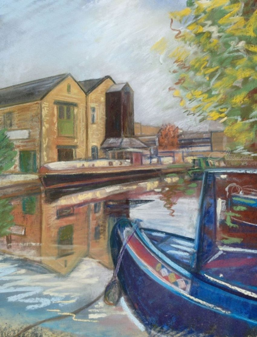 Brighouse Marina, Pastel, Realism, Landscape, Painting, Pastel, By Matthew David Evans