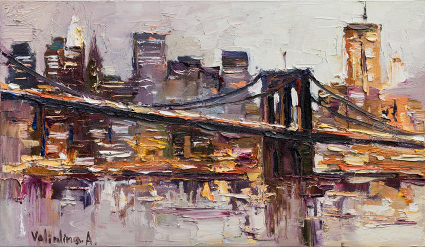 Brooklyn Bridge - New York City - Original oil painting, Paintings, Impressionism, Portrait, Canvas, By Anastasiya Valiulina
