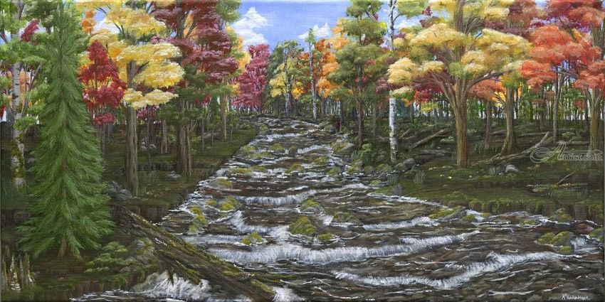Brother's Brook, Paintings, Abstract, Fine Art, Impressionism, Realism, Landscape, Nature, Acrylic, By Kelsey Elizabeth VandenHoek