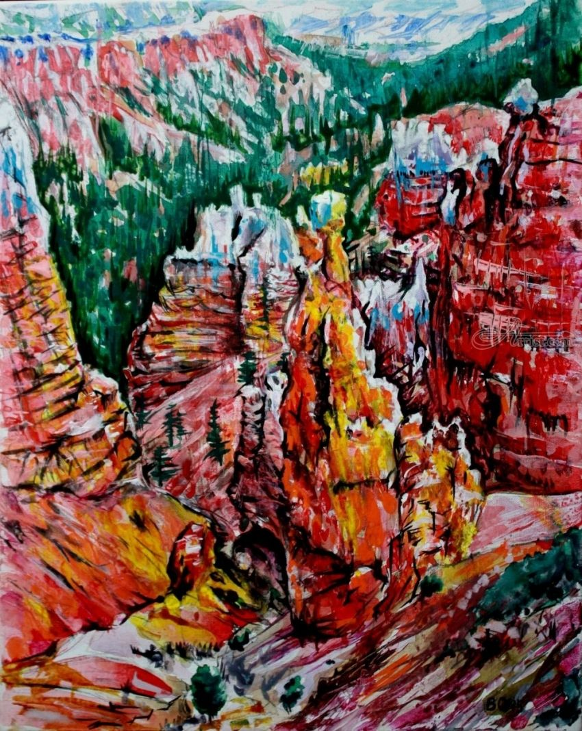 Bryce Canyon. 1, Paintings, Expressionism, Landscape, Acrylic, Canvas, By Victor Ovsyannikov