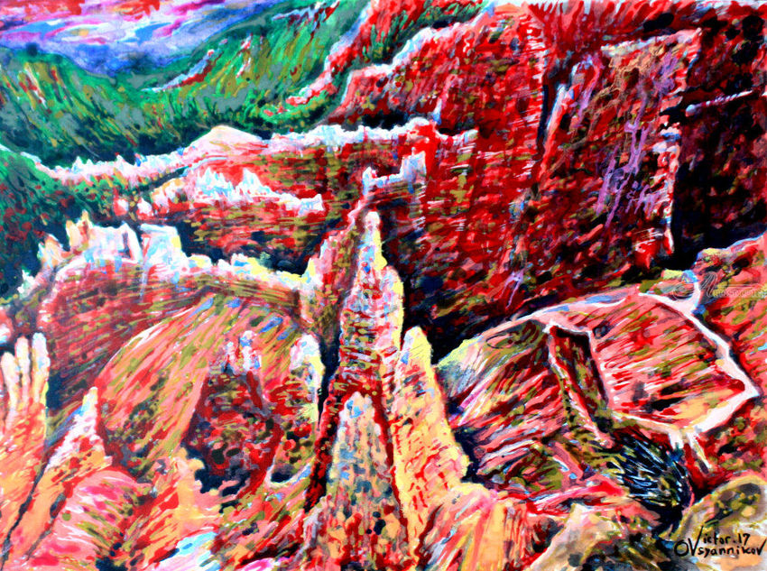 Bryce Canyon. 3, Paintings, Expressionism, Landscape, Acrylic, Canvas, By Victor Ovsyannikov