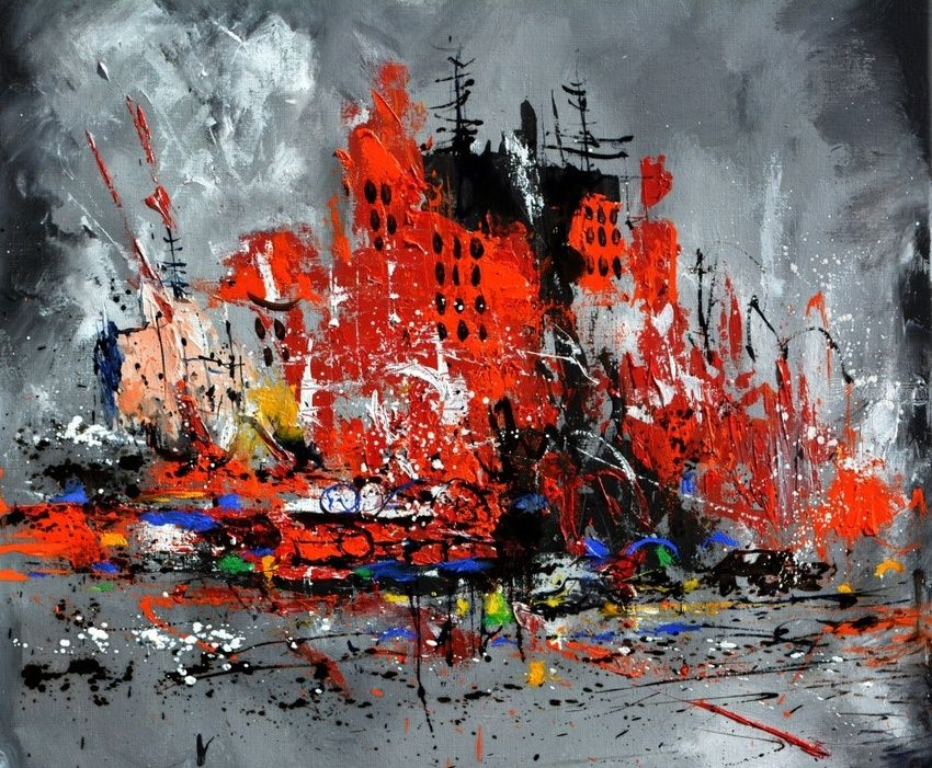 Busy city, Paintings, Expressionism, Landscape, Canvas, By Pol Henry Ledent