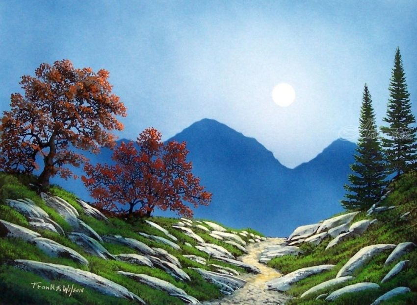 By The Light Of The Moon, Paintings, Fine Art, Impressionism, Realism, Landscape, Gouache, By Frank S. Wilson