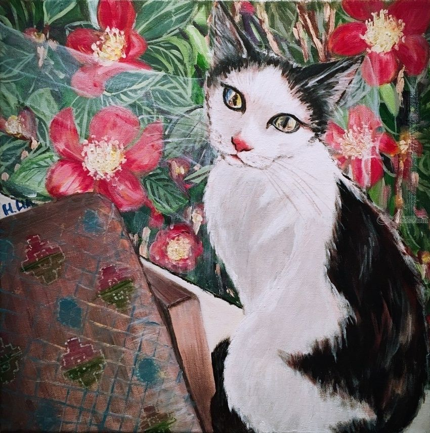 BY THE WINDOW- Cadbury the cat, Paintings, Fine Art, Modernism, Photorealism, Animals, Botanical, Acrylic, Canvas, By HSIN LIN