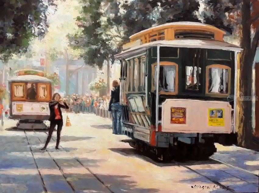 Cable Cars Powell Street, Paintings, Impressionism, Cityscape, People, Canvas, Oil, By Mason Mansung Kang