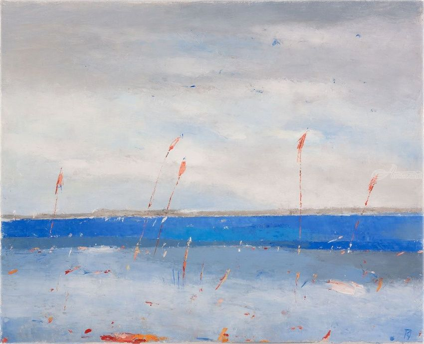 Calm Day At The Seaside, Paintings, Abstract, Landscape, Canvas, By Kestutis Jauniskis