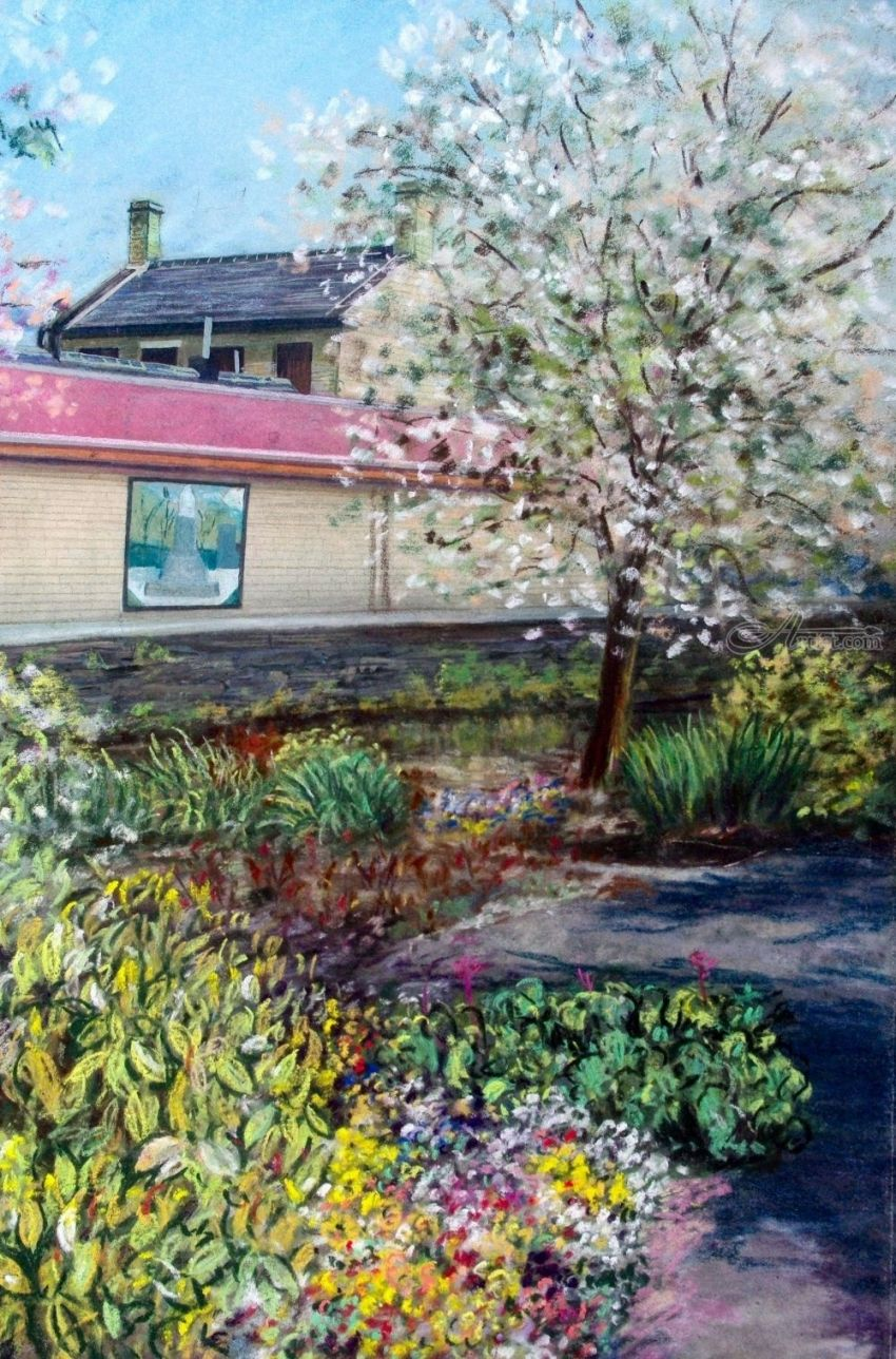 Canalside Walk, Paintings, Pastel, Impressionism, Realism, Floral, Landscape, Painting, Pastel, By Matthew David Evans