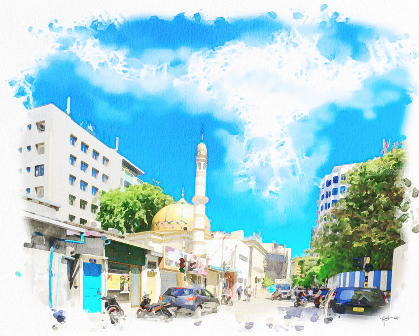 Capital Male' City ,Maldives, Paintings, Fine Art, Cityscape, Watercolor, By Angelo