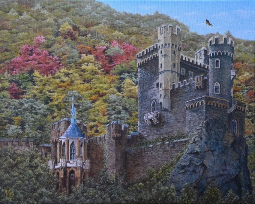 Castle Rheinstein., Paintings, Realism, Landscape, Canvas,Oil, By Nikolay Velikiy