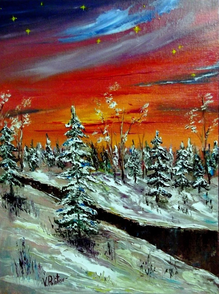 Christmas evening, Paintings, Impressionism, Landscape, Canvas,Oil, By Valeriy Politov
