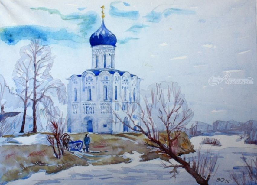 Church of the Intercession of the Virgin on the Nerl, Paintings, Realism, Landscape, Watercolor, By Victor Ovsyannikov