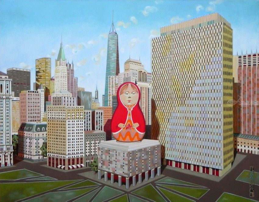 Civic Center in New York with Matrioska, Paintings, Fine Art, Surrealism, Architecture, Landscape, Oil, By federico cortese