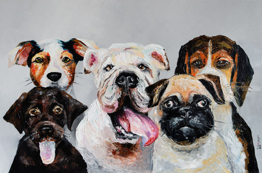 Company of dogs, Paintings, Impressionism, Animals, Humor, Oil, By Liubov Kuptsova