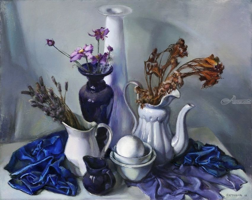 Contemplation in blue, Paintings, Impressionism, Still Life, Canvas,Oil,Painting, By Irina Kupyrova