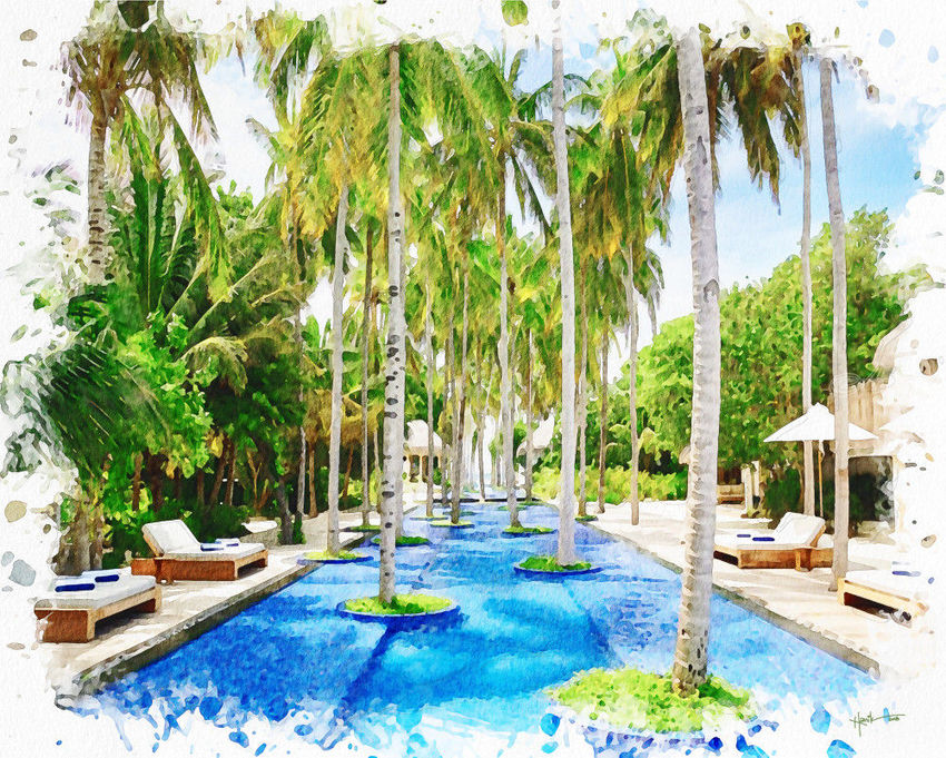 Cool infinity pool,Maldives, Paintings, Fine Art, Landscape, Watercolor, By Angelo