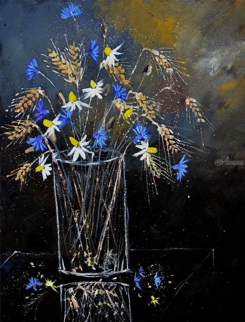cornflowers 545123, Paintings, Expressionism, Botanical, Canvas, By Pol Henry Ledent