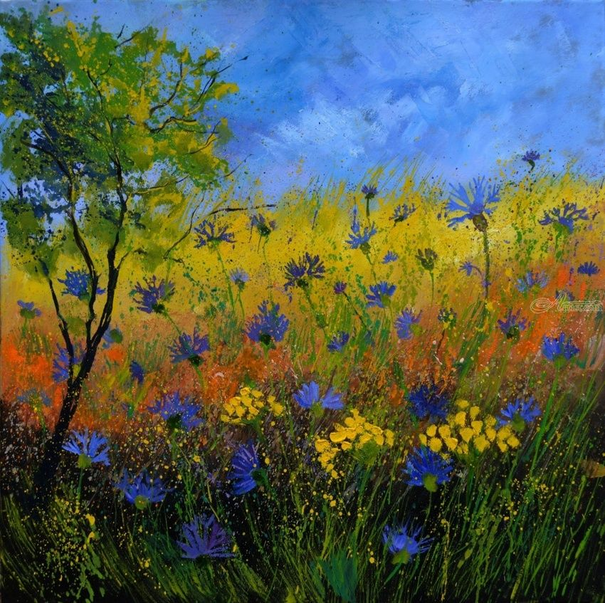 cornflowers 776110, Paintings, Impressionism, Botanical, Canvas, By Pol Henry Ledent