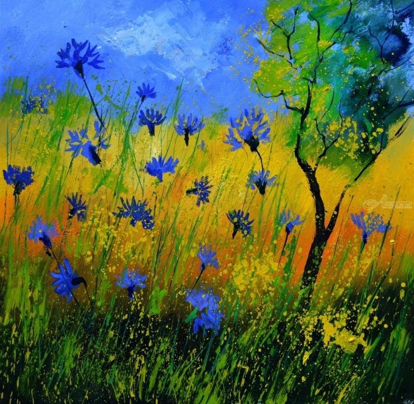 cornflowers 777110, Paintings, Expressionism, Decorative, Canvas, By Pol Henry Ledent
