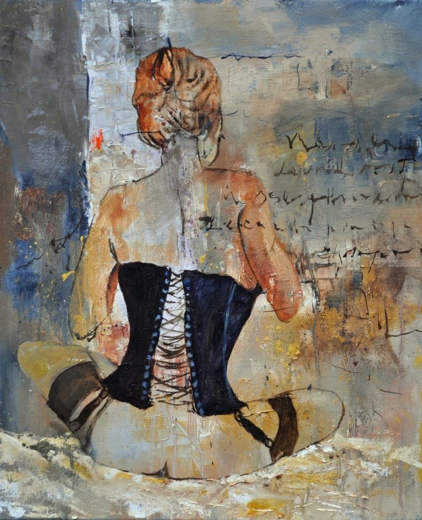 Corset, Paintings, Impressionism, Erotic, Canvas, By Pol Henry Ledent