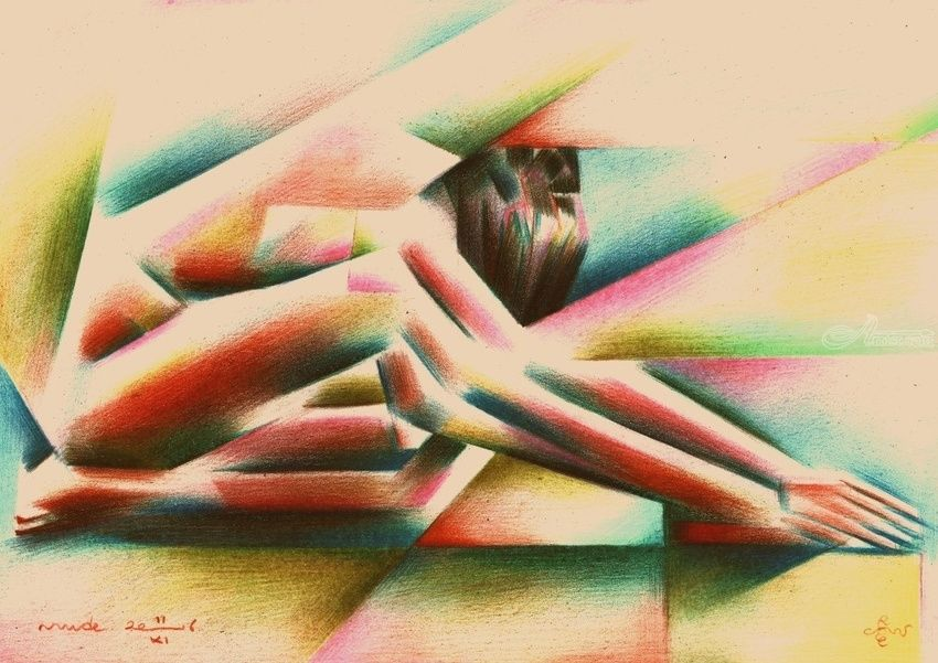 Cubistic nude - 11-11-16, Drawings / Sketch, Abstract,Cubism,Fine Art,Realism,Surrealism, Anatomy,Erotic,Figurative,Inspirational,Nudes,People, Pencil, By Corne Akkers
