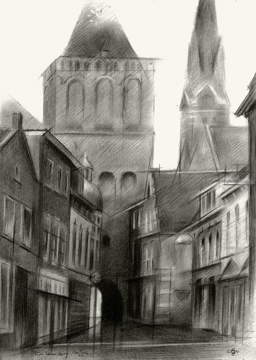 Culemborg - 21-11-15, Drawings / Sketch, Abstract, Cubism, Fine Art, Impressionism, Realism, Surrealism, Architecture, Cityscape, Composition, Figurative, Inspirational, Landscape, Pencil, By Corne Akkers