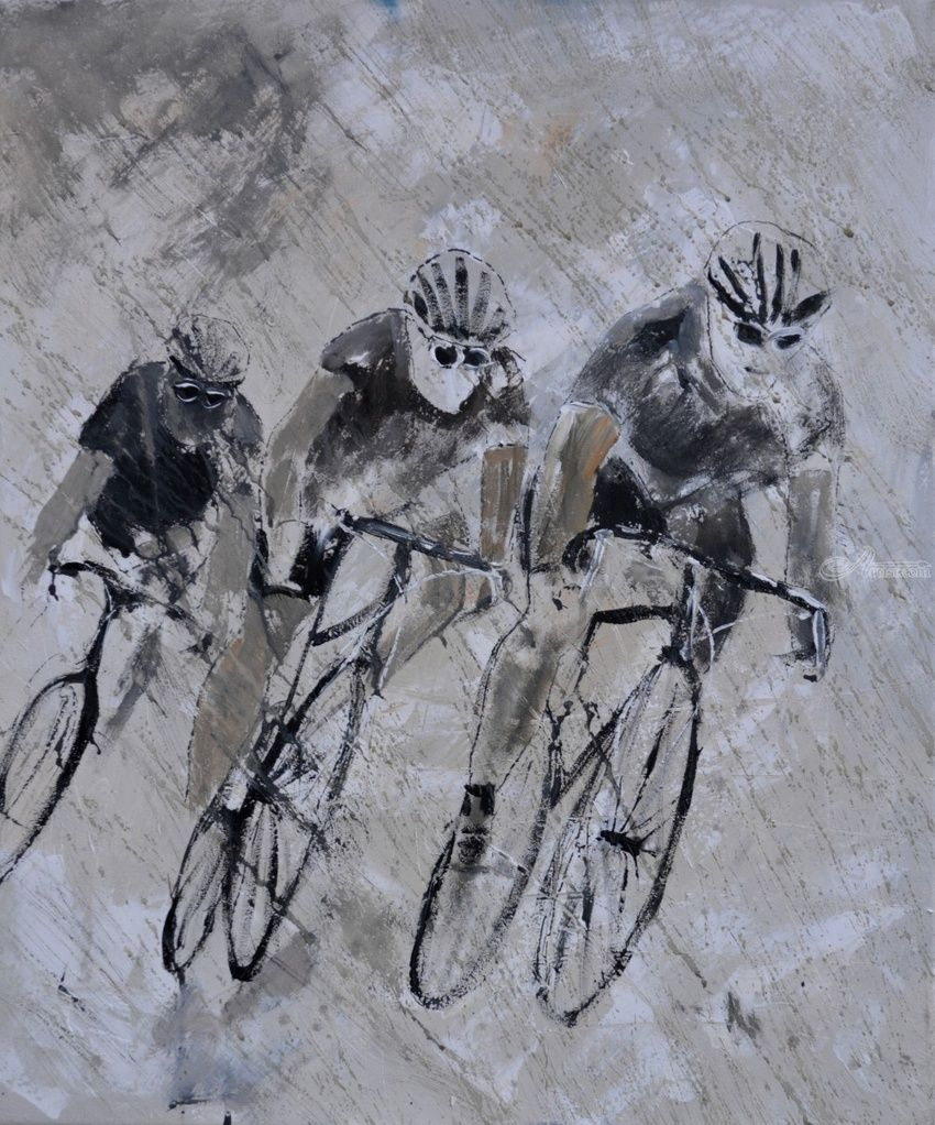 Cycling in the rain, Paintings, Expressionism, Figurative, Canvas, By Pol Henry Ledent