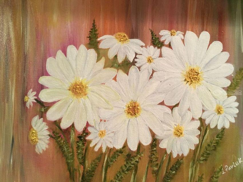 Daisies in the wild dream, Paintings, Fine Art, Botanical, Canvas, By Lubov Pavluk