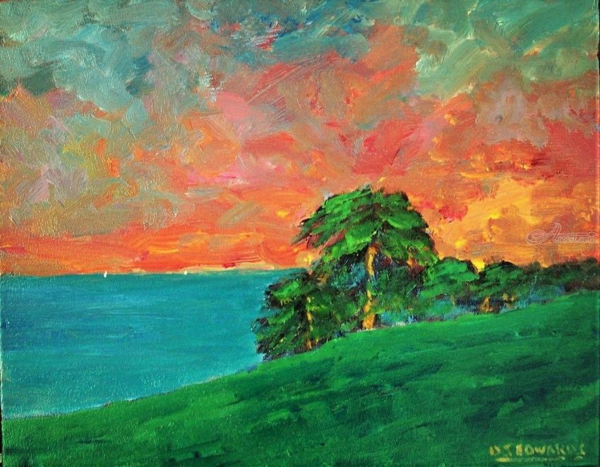 Day's End, Maui, Hawaii, Paintings, Fine Art, Impressionism, Realism, Landscape, Seascape, Tropical, Acrylic, Canvas, By David John Edwards