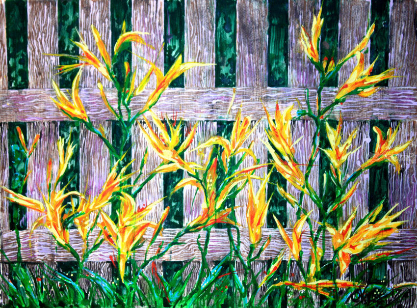 Daylily in the garden, Paintings, Realism, Botanical, Acrylic, By Victor Ovsyannikov
