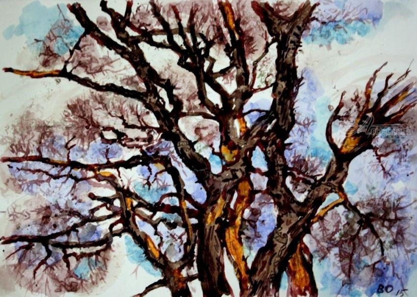 Dead trees near Stanford, Paintings, Impressionism, Botanical, Watercolor, By Victor Ovsyannikov