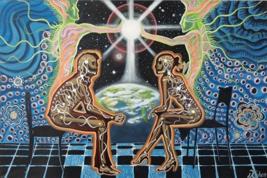Deep conversation Graphic, Paintings by Daron Cohen - Artist.com