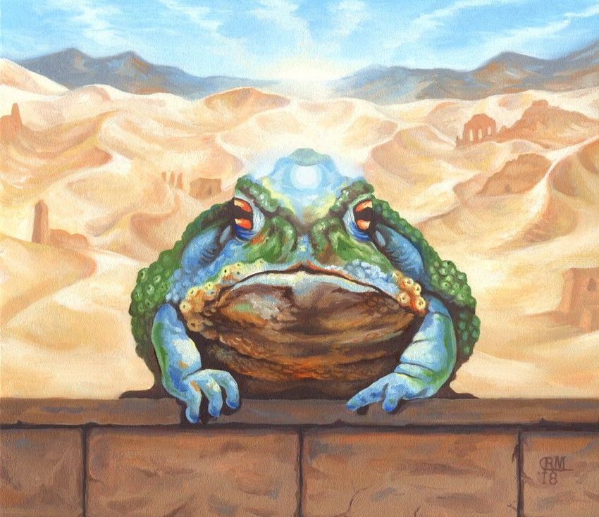 Dust Toad, Illustration, Paintings, Fine Art, Realism, Surrealism, Animals, Fantasy, Humor, Oil, By Rebecca Suzanne Magar