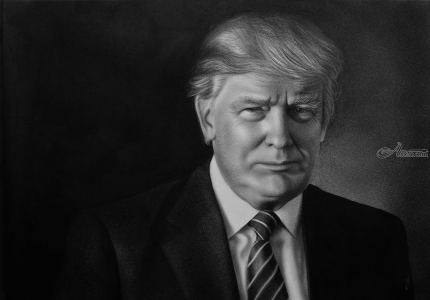 Donald Trum portrait painting in oil, Paintings, Impressionism, Photorealism, Realism, People, Portrait, Canvas, Oil, By Stefan Pabst
