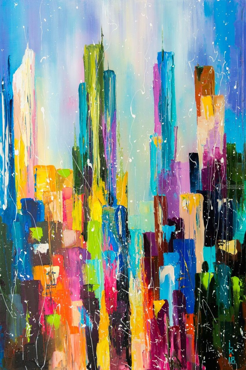 Downtown, Paintings, Abstract, Architecture, Cityscape, Canvas, Oil, By Liubov Kuptsova