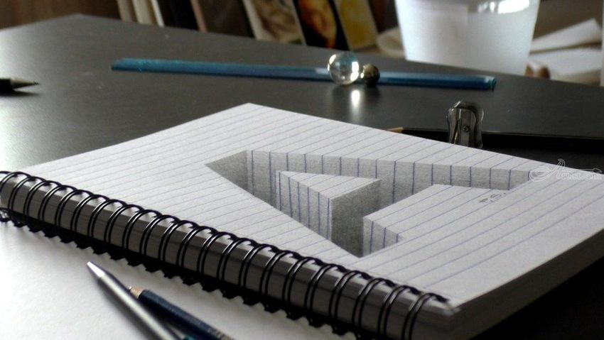 Drawing of a hole letter A in line paper/ 3D Trick Art Optical Illusion, Drawings / Sketch, Fine Art, 3-D, Charcoal, By Stefan Pabst