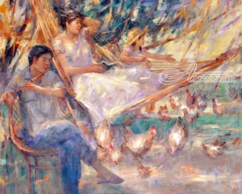 Duyan : Filipino Hammock, Paintings, Expressionism, Impressionism, Realism, Figurative, People, Acrylic, Canvas, By Jun Martinez