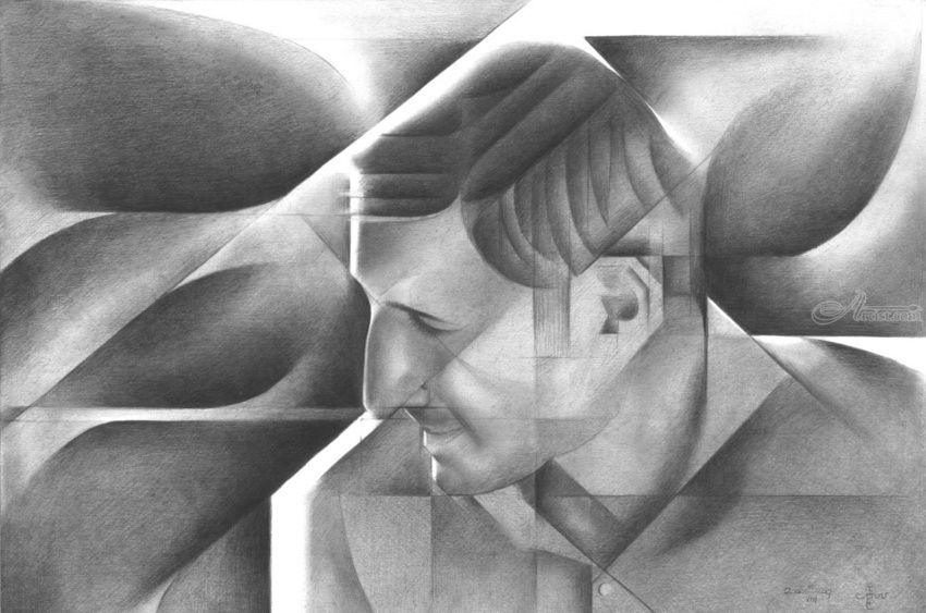 Eben Pagan - 05-08-17 (sold), Drawings / Sketch, Abstract, Cubism, Fine Art, Impressionism, Realism, Surrealism, Anatomy, Composition, Figurative, Inspirational, People, Portrait, Pencil, By Corne Akkers