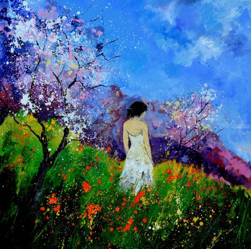 Eglantine in the flowers, Paintings, Expressionism, Figurative, Canvas, By Pol Henry Ledent